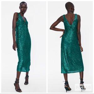 NWT • Zara • Sequin Dress with Seam Detail